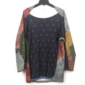 """Abstract """"Water Colors"""" Long Knit Blouse Unique"""